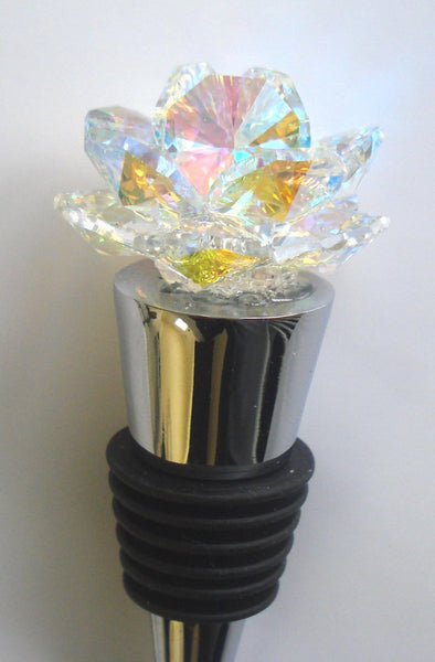 Arora Borealis Crystal Rosebud Wine Stopper - House Gift - Handcrafted By Bjcrystalgifts Using Swarovski Crystals - Stainless Steel wine Stopper