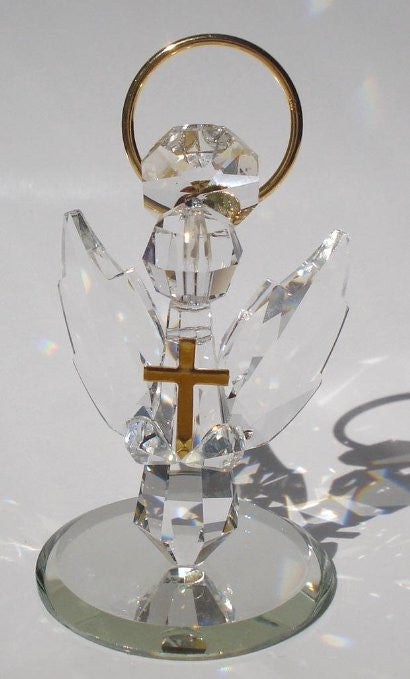 Handcrafted Crystal Angel Holding Cross Made Using Swarovski Crystal