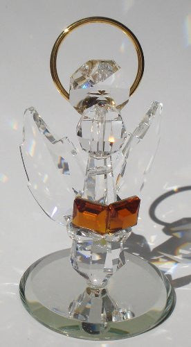 Handcrafted Crystal Angel Holding Book Made with Swarovski Crystal - Crystal Angel