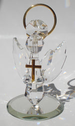 Load image into Gallery viewer, Handcrafted Crystal Angel Holding Cross Made Using Swarovski Crystal