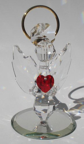 Handcrafted Crystal Angel Holding Red Heart Made with Swarovski Crystal