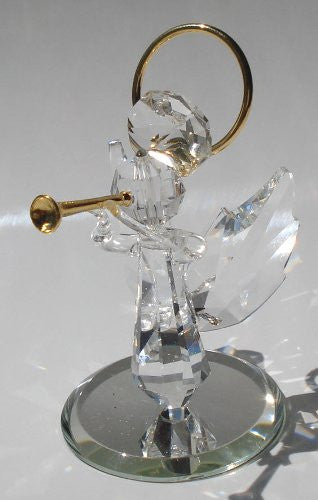 Handcrafted Crystal Angel Blowing Trumpet Made with Swarovski Crystal - Angel with Trumpet