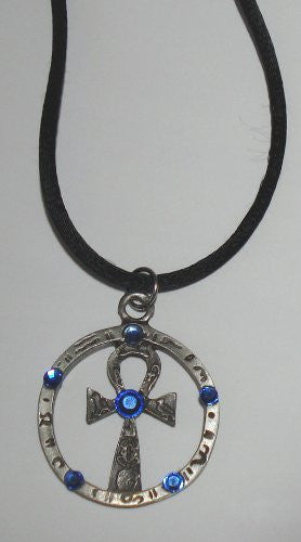 Pewter Ankh Decorated with Swarovski Crystals - Hanging Pewter Ank Ornament - Ankh Necklace