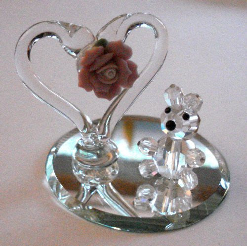 Crystal Bear Under Heart Handcrafted By Bjcrystalgifts Using Swarovski Crystal
