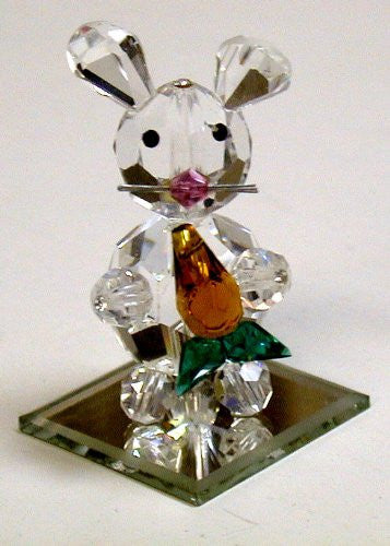 Crystal Bunny Holding a Carrot Handcrafted By Bjcrystalgifts Using Swarovski Crystal - Crystal Rabbit
