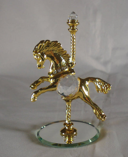 Crystal Carousel Horse made with Swarovski Crystal