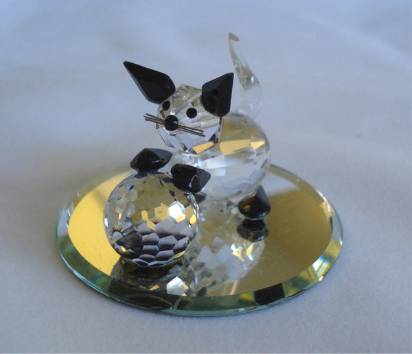 Crystal Cat Figurine - Kitten Miniature Handcrafted With Swarovski Crystal