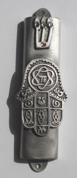 Pewter Mezuzah Chamsa with Kosher Scroll - Mezuzah for the Door