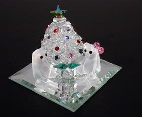 Adorable Christmas Scene Handcrafted Using Swarovski Crystal