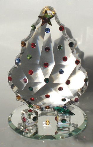 Crystal Christmas Scene - Crystal Christmas Tree With Presents Handcrafted With Swarovski Crystal