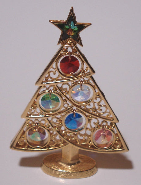Christmas Tree Ornament - Gold Tone - Adorned With Swarovski Crystals