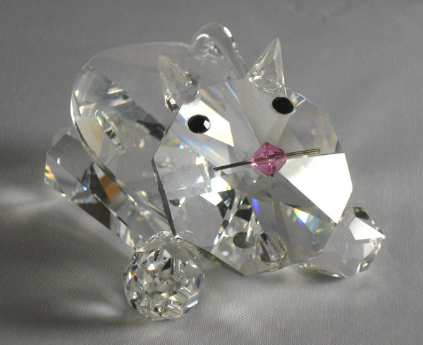 Crystal Crouching Cat Figurine - Cat Miniature Handcrafted Using Swarovski Crystal - Crystal Playful Kitten