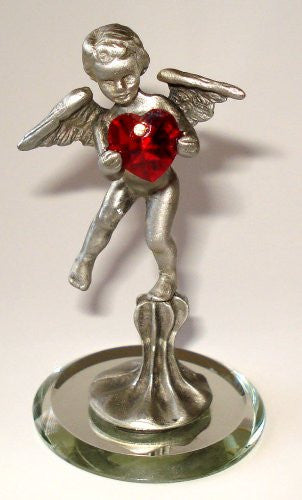 Pewter Cupid Holding a Red Colored Swarovski Crystal Heart