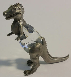 Crystal Dinosaur Figurine - Pewter Dinosaur Miniature Handcrafted With Swarovski Crystal