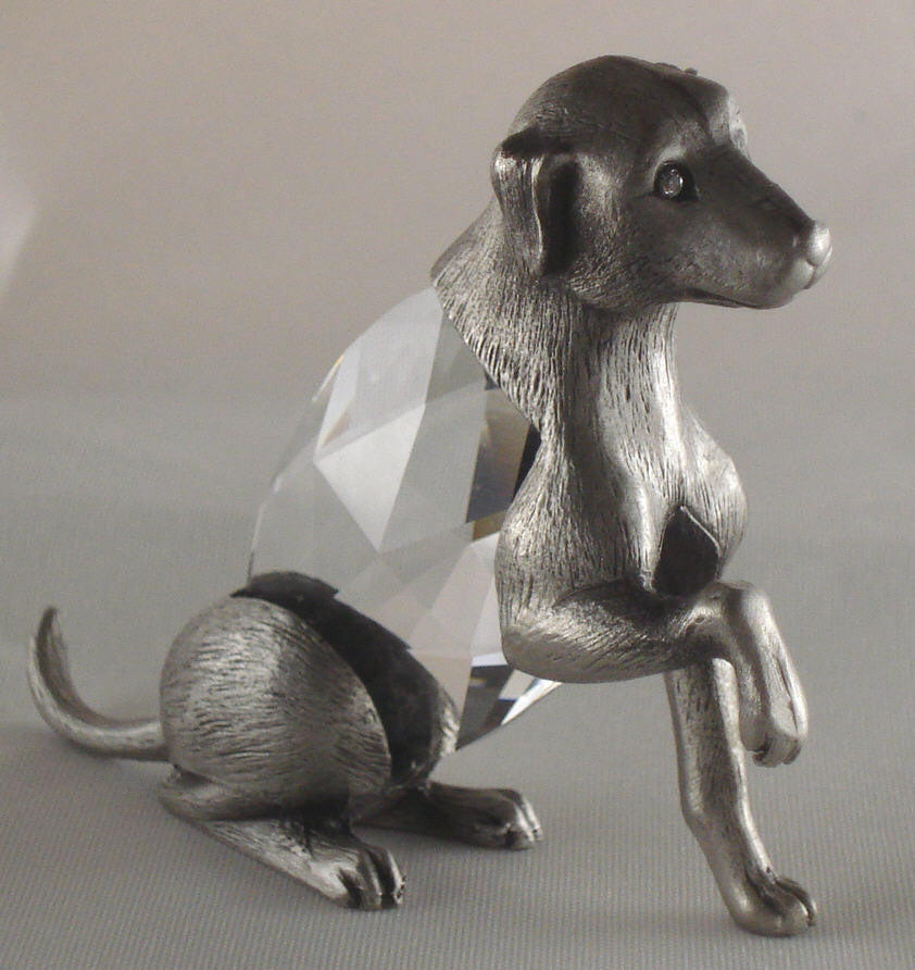 Pewter Dog Figurine - Crystal Dog Miniature Handcrafted With Swarovski Crystal