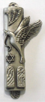 Load image into Gallery viewer, Pewter Mezuzah with Kosher Mezuzah Scroll - Pewter Peace Dove Mezuzah with Swarovski Crystal