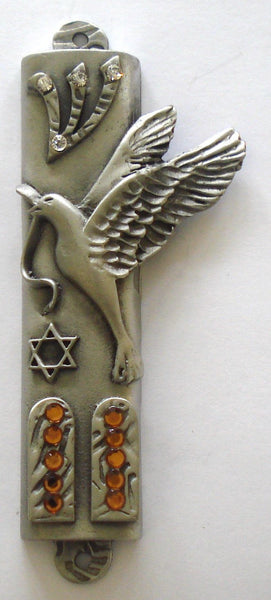Pewter Mezuzah Adorned with Swarovski Crystals - Dove - Peace Dove Mezuzah