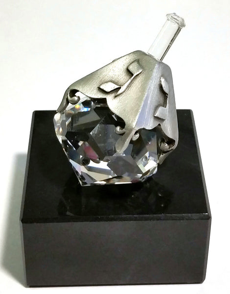 Crystal and Pewter Dreidel On a Black Marble Base - Handcrafted By Bjcrystalgifts Using Swarovski Crystal