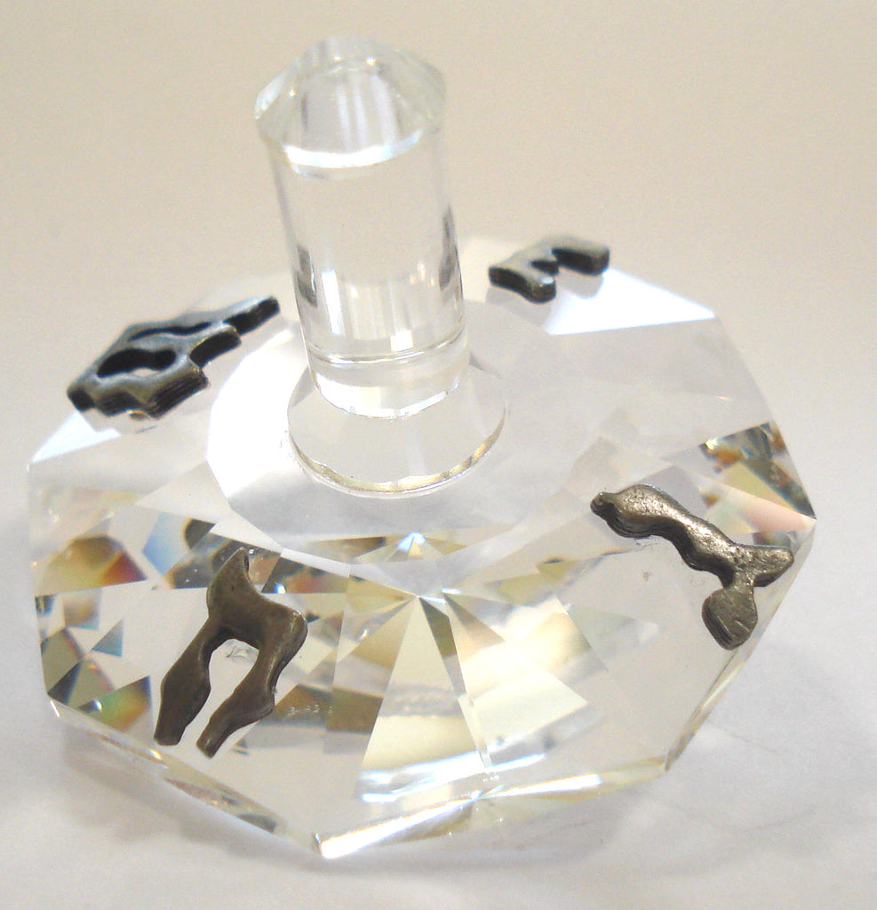 Crystal Dreidel Handcrafted By Bjcrystalgifts Using Swarovski Crystal - Pewter Dreidel