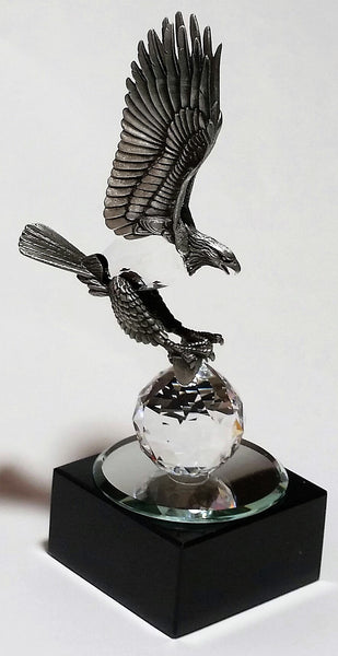 Personalized Pewter Eagle Made with Swarovski Crystal on Marble Base - Eagle Figurine