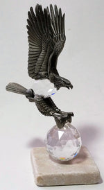 Load image into Gallery viewer, Crystal And Pewter Eagle Perched On A Tumbled Marble Base