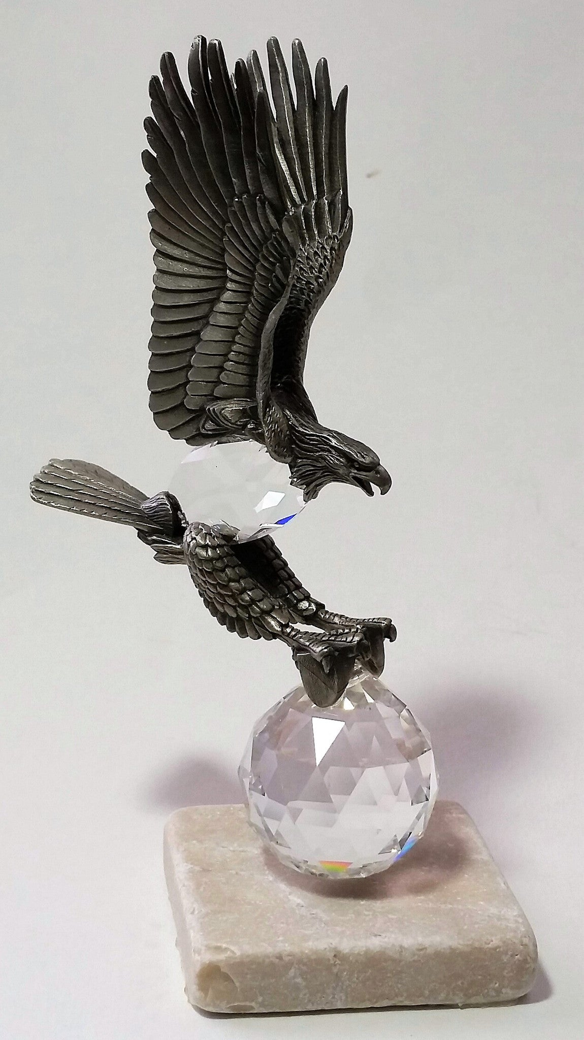 Crystal And Pewter Eagle Perched On A Tumbled Marble Base