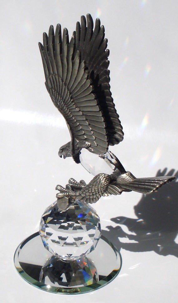 Pewter Eagle Figurine - Crystal Eagle Handcrafted With Swarovski Crystal