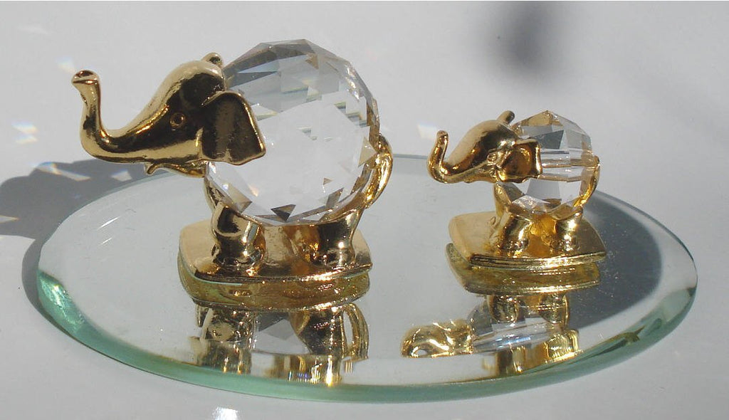 Crystal Elephant Family - Crystal Elephant Figurine - Elephant Miniature
