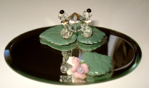 Crystal Frog on Lily Pad Made with Swarovski Crystal