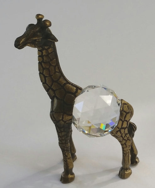 Crystal Giraffe Handcrafted By The Artisans At Bjcrystalgifts - Antique Gold Tone Giraffe
