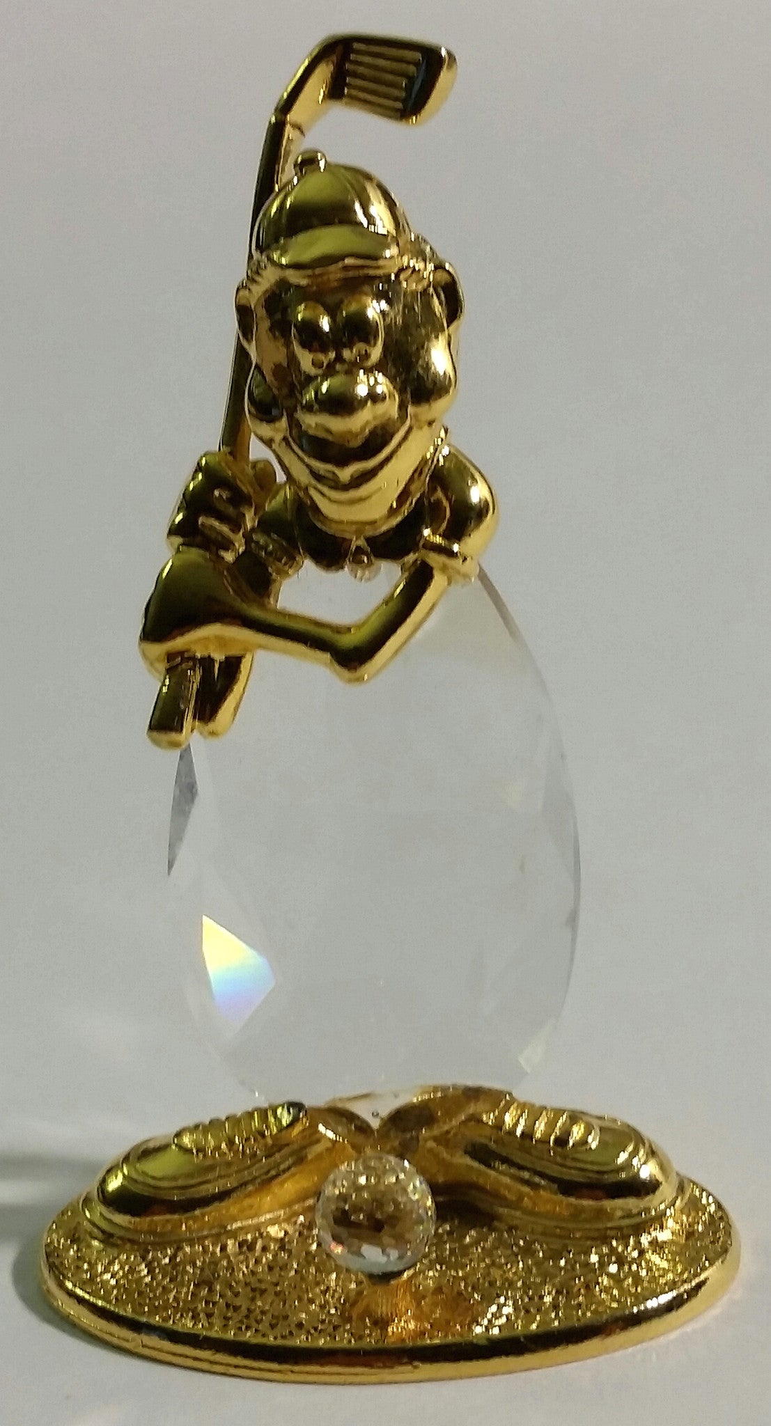 Crystal Golfer Figurine - Crystal Golfer Miniature Handcrafted With Swarovski Crystal