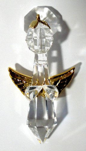 Hanging Angel ornament with Goldtone Wings Made with Swarovski Crystal