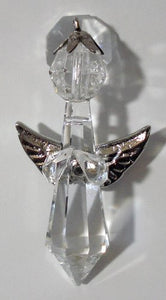 Crystal Angel Ornament with Silvertone Wings Made with Swarovski Crystal