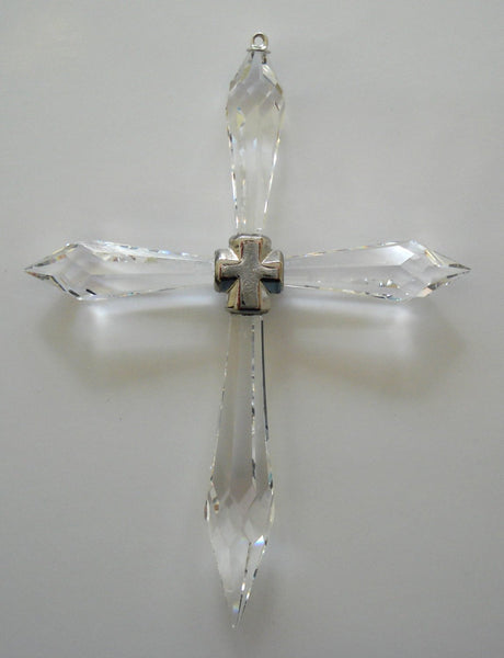 Hanging Crystal Cross Ornament Made with Swarovski Crystal - Cross Ornament