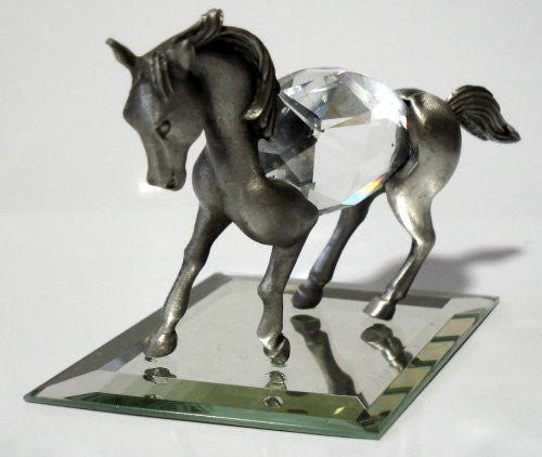Pewter Horse Miniature - Crystal Horse Figurine Handcrafted With Swarovski Crystal