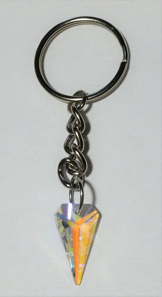 Crystal Key Chain made With Tiger Tooth Shaped AB Colored Swarovski Crystal