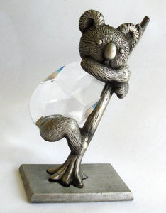 Pewter and Crystal Koala Bear Handcrafted By the Artisans At Bjcrystalgifts Using Swarovski Crystal