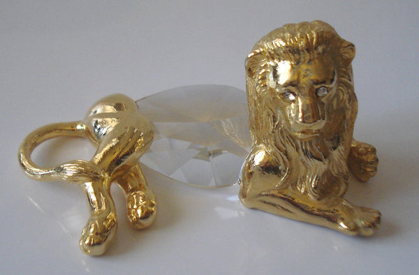 Crystal Lion Figurine Handcrafted Using Swarovski Crystal - Gold Tone Lion