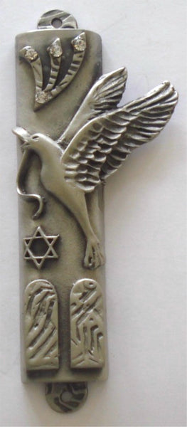 Pewter Mezuzah Case - Peace Dove Mezuzah With Ten Commandments Handcrafted Using Swarovski Crystal