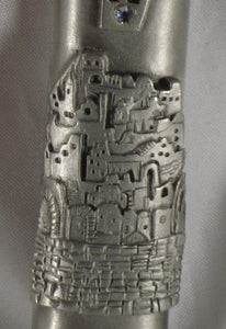 Pewter Mezuzah Jerusalem With A Kosher Mezuzah Scroll