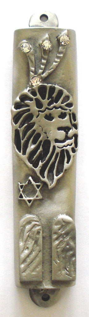 Mezuzah Pewter with Kosher Parchment - Lion of Judah - Swarovski Crystals - Lion Mezuzah