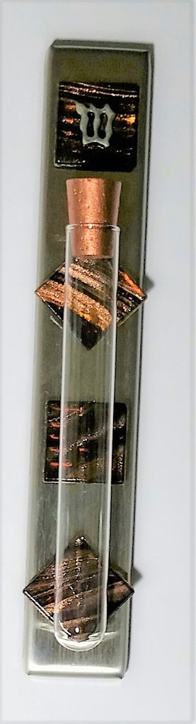 Stainless Steel Mezuzah Case - Brown Iridescent Glass Mezuzah Case - Kosher Mezuzah Scroll
