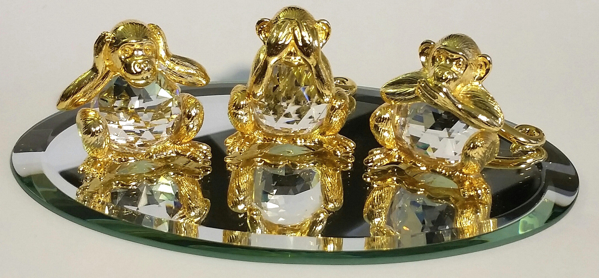 Hear No Evil, See No Evil, Speak No Evil Crystal Monkeys