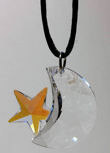 Crystal Moon And Star Necklace Handcrafted Using Swarovski Crystal