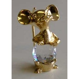 Crystal Mouse - Gold Tone Crystal Mouse Figurine