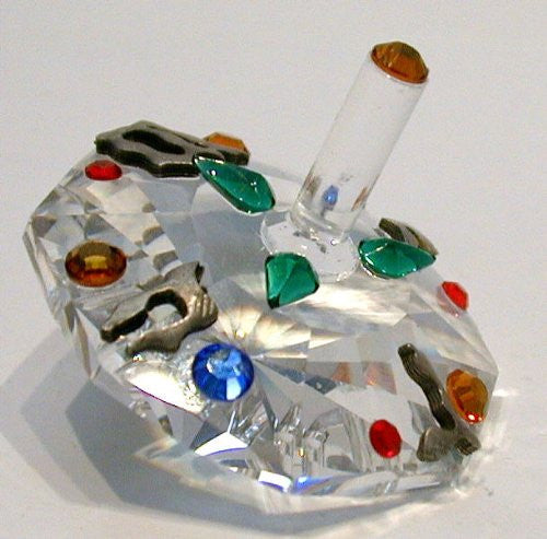 Multi-color Crystal Dreidel Made with Swarovski Crystal - Hanukkah Gift