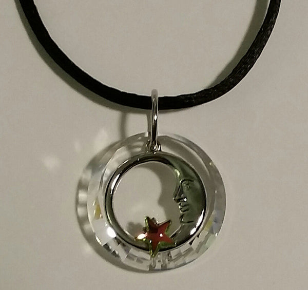 Crystal Moon and Star Necklace Handcrafted By Bjcrystalgifts Using Swarovski Crystal