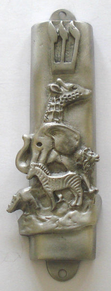 Pewter Mezuzah - Noah Ark - Kosher Mezuzah Scroll - Mezuzah for Door