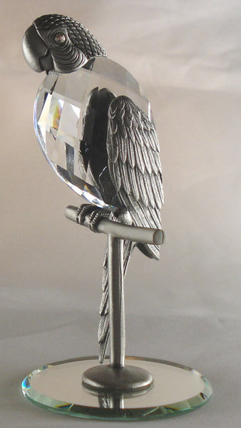 Pewter Parrot Figurine - Crystal Parrot Handcrafted Using Swarovski Crystal