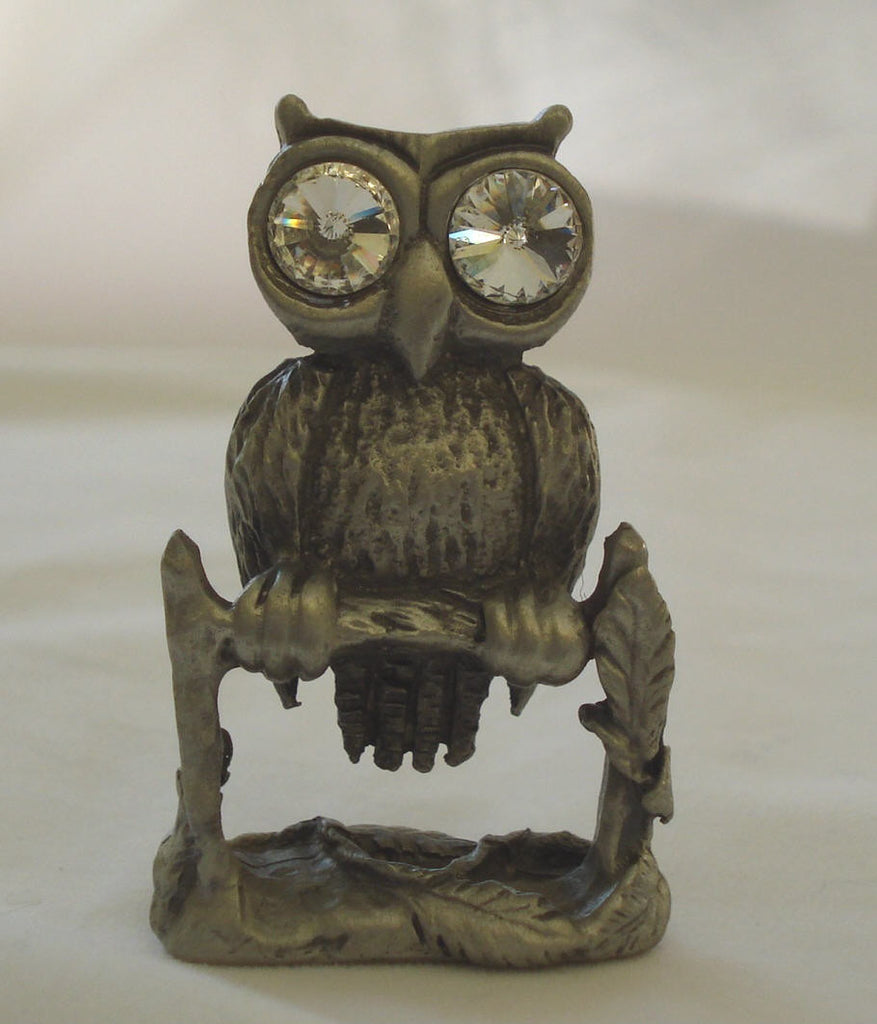 Pewter Owl Figurine - Crystal Owl Miniature Handcrafted With Swarovski Crystal